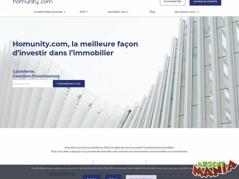 Screenshot homunity crowdfunding-immobilier
